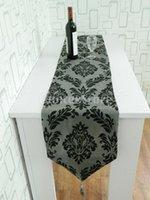 Wholesale Dark Gray Table Runner Cloth Wedding Decor Flocked Damasks x13 inch
