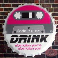 antique soda bottles - DRINK soda Vintage Metal Iron Round Bottle Cap Tin Sign Bar pub home Wall Decor Retro Metal Art Poster cm RM