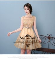 Wholesale Bling Major Beading Short Homecoming Dresses For Girls In Stock Gold Sequins Red Royal Blue Tulle Real Photos Cheap Party Dress
