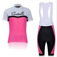 al por mayor pantalones cortos de ciclista xs para las mujeres-El verano 2016 que completaba un ciclo Jersey fijó la ropa de deportes de la manga y el babero de los cortocircuitos jadea favorable ropa XS-4XL de la bici de la bici que las mujeres rosadas liberan el envío