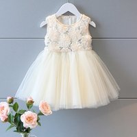 Wholesale 2016 Girls Summer D Rose Flower Sequins Tutu Princess Dress baby clothes Children Sleeveless net Yarn Party Dress Ivory Girls Clothing