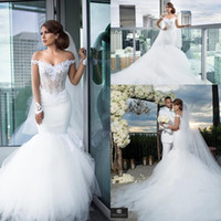 Wholesale Gorgeous Long Sleeves Mermaid Wedding Dresses Off Shoulder Appliques Lace Illusion Bodice Chapel Train Bridal Gowns Robe De Soiree