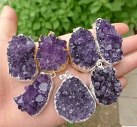 amethyst cluster geode - The original rock of natural amethyst geode pendant Amethyst cluster pendant energy superpower mm mm free rope