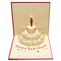 Wholesale 15x15cm D Foldable Birthday Greeting Card Laser Cut Paper Card Birthday Cake Party Gift Cards For School Children