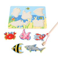 baseball magnet - Child Intelligence Toys Baby wooden magnetic fish parent child fishing game small magnet fish for years old