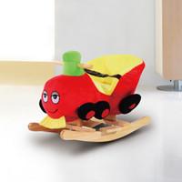 Wholesale Children Rocking Horse Ride Walk Kid Toy Wooden Rocker Seat Belt Songs Red Train