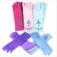 Wholesale Kids Frozen Gloves Princess Elsa Gloves Princess Elsa Gloves Costume Long Gloves Snow Queen Cartoon Gloves Glitter Powder Gloves B885