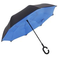 Wholesale 2016 C Shape Handle Inverted Umbrella Double Layers Windproof Inside out Reverse Umbrella New Safe Car Umbrella