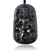 amulet jewellery - Forward Jewellery Natural Matting Black Yao Stone Lotus A Buddism Godness Guanyin Pendeloque Cut Amulet Man Necklace Bodhisattva Pendeloque
