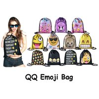 Wholesale New women drawstring bag escolar backpack d Printed Emoji qq backpacks mochila feminina harajuku unisex backpacks