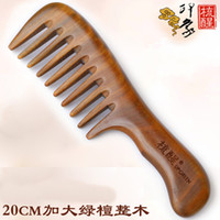 Wholesale Natural Sandalwood Combs Luxury Healthy Entire Width Tooth Hair Comb Light Green Sandalwood Comb Curl Massage Model Anti static Mushu Gift