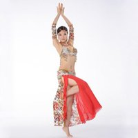 belly dance skirt pattern - Super Quality Egyptian Belly Dancing Clothes Professional Rose Patterns Beads Bra Skirt Bellydance Outfit Sleeve Armbands