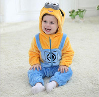 Wholesale Minions Baby Clothes Romper Infant Costume New Spring Hooded Flannel Toddler Romper Infant Jumpsuit Clothing Baby Costume