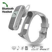alarm clock headphones - Bluetooth headphone watch with pedometer sleep monitor build in battery for sport Healthy support Clock date display Alarm clock