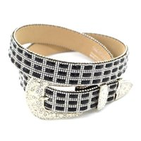 western rhinestone belts - Fashion Rhinestone Belts Needle Buckle PU Belts for Womens Universal Western Apparel Accessory Black and White CH300589
