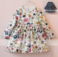 beach bag style - 2016 Girls Autumn Long Sleeve Linen Princess Dresses with Bag Children European Fashion Pretty Floral Printed Dresses