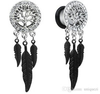 Wholesale 1Pairs Retro Dream Catcher Feathers Dangle Ear Plug Flesh Tunnel Expander mm