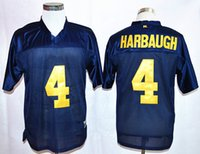 best basketball colleges - Best High Quality Men s Jim Harbaugh College Jerseys Michigan Wolverines men Football Jerseys Cheap Home Blue Stitching size S XXL