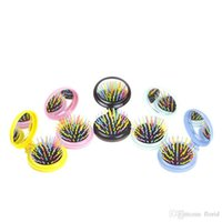 Massage Brush All Hair Types PVC 5Pcs lot Colorful Girls Portable Mini Folding Hair Comb Airbag Massage Round Travel Brush With Mirror Cute Hair Accessories