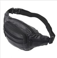 bolsa de la cintura buena calidad cuero grande de cintura del cuero del bolso de Fanny bolsa de deporte Pack 5 bolsillos