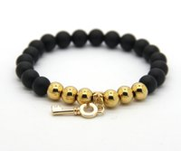beaded key chains - 8mm Real Matte Onyx Beads with Real Gold Plated Beonze Beads and Key pendant Bracelet Women Stone Jewelry