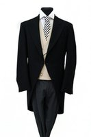ascot tuxedos - Custom Made New Style Groom Tuxedos BLACK HERRINGBONE MORNING TAIL COAT MENS FORMAL ASCOT TAILS SUIT WEDDING handsome