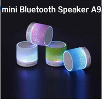 Wholesale Led Free Delivery - Short delivery LED mini wireless bluetooth speaker A9 TF USB FM portable musical subwoofer loudspeakers hand-free call for phone PC with Mic