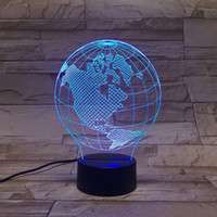 american earth - 3D LED Lamp Lights earth form of D Color Art Sculpture American Optical Illusion LED D globe night lamp with touch button