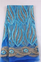 Wholesale 2016 Mesh African Fabric French Net Lace For Textile Sky Blue Pakistani Laces Tulle Mesh Fabric Textile With Gold Thread EM0970Y