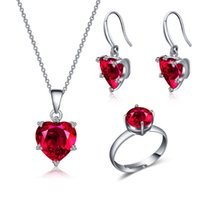 Wholesale White Gold Plated Women Jewelry Sets Ruby Love Shape Cubic Zirconia Wedding Resizable Round Cut Rings Drop Earrings and Necklaces pairs