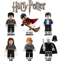 Wholesale 6pcs set blocks Harry Potter Minifigures Hermione Ron Lord Voldemort Cartoon Building Blocks Sets Models Mini Figures Toys Legoelieds