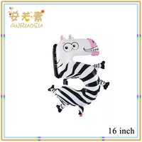 Wholesale Yiwu Toys inch Cute Zebra shaped Number Balloons With Aluminium Coating in Multicolor