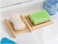 bath trays - Natural Wood Soap Dish Wooden Soap Tray Holder Storage Soap Rack Plate Box Container for Bath Shower Plate Bathroom