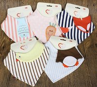animal packages - New Cotton Baby Bibs Newborn Girls Boys Burp Cloths Double Layer Cartoon Animal Towel Bandanas With Exquisite Package