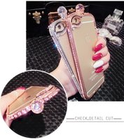 rhinestone cell phone cases - hot sale cell phone case iphone bumper case super shiny shatter resistant frame for iphone s plus rhinestone diamond luxury metal case