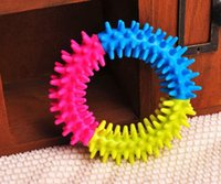 Wholesale Dog s Toys Pet Traning Products Pets Color Embossment Spinose Ring TPR Rubber Toys Resistance to bite