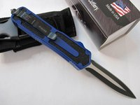 aluminum oxide color - Microtech Scarab tactical knife C HRC Black oxide Double action Full blade EDC Pocket knives with nylon bag Blue color handle
