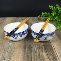 Wholesale Bone China Ceramic Bowl Porcelain Dinner Service White And Blue Flower Pattern Household Tableware Rice bowl