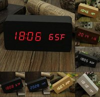Wholesale New Arrive Wooden LED Alarm Clock Time date temperature Digital Bamboo Wood Clock Voice Activated Table Clocks Reloj Despertador Wekker