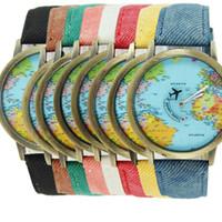 battery global - Women Dress Watches Fashion Global Travel By Plane Map Denim Fabric Band Watch Women Mens Gift