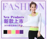 Wholesale winter and autumn new long sleeve yogo suits sports vest fitness clothing female cotton significantly thin sportswear three sets