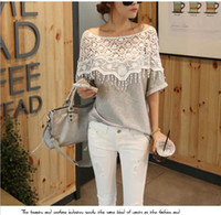 Wholesale Nice Fashion Ladies Loose Batwing Dolman Lace Blouse Sexy Long Sleeve Blouse Casual Blouse for Women Tops T shirt Shirts crochet top
