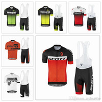 Wholesale Hot Sale Scott Cycling Jerseys Set Short Sleeves With White Bib Gel Padded Trousers Summer Style For Men Size XS XL Colors