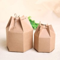 Wholesale 5 cm Gift Chocolate Hexagon Kraft Paper Boxes With Rope quot x3 quot x4 quot Nut Brown Stand Up Kraft Paper Pack Box