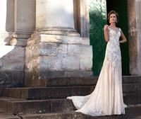 Wholesale Glamorous Long Full Lace A Line Milla Nova Vena Wedding Dresses with Sheer Scoop Neck Court Train Elegant Appliques Church Bridal Gowns