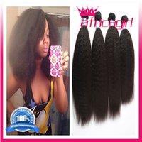 beauty queen hair styles - cheap A Kinky Straight Human Hair Unprocessed Virgin Brazilian hair Black star style hair queen weave beauty bundle deals free ship