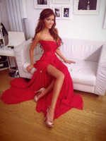 bianca dresses - 2016 Red Prom Dresses Sweetheart Pleated Bodice Side Slit Chiffon Top Corset Formal Dresses Sexy Cheap Simple Evenng Dresses Bianca Slav