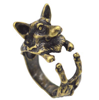 Wholesale 1pcs Vintage Silver Boho Chic Love Welsh Corgi Dog Ring Anel Hippie Brass Knuckles Rings For Women Men Jewelry