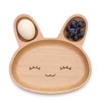 Wholesale 20 cm Cute Rabbit Food Dish Plates Wooden Appetizer Platter Compartment Dinner Plate Tray Dinnerware DPW0931