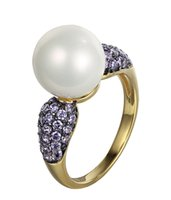 amethyst rings yellow gold - Fashion Fine Rings Jewelry Sterling Silver White Shell Pearl Ring Amethyst CZ with Yellow Gold Plated for Women Wedding Ring NR74400H